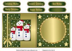 Snowman Family Fold Back Green