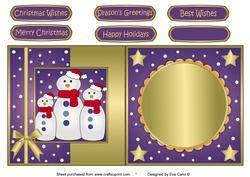 Snowman Family Fold Back Purple