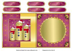 Gold Snowman Family Fold Back Pink
