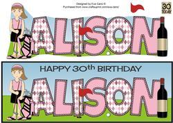 Female Golfer Alison 30th Large Dl