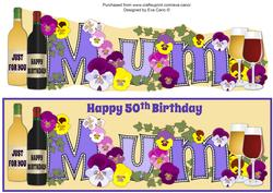 Bright Flowers & Wine Mum 50th Large Dl