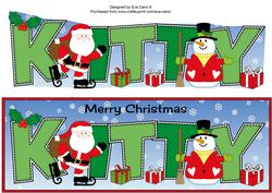 Santa & Snowman Kitty Large Dl
