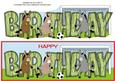 Donkeys Playing Football Birthday Large Dl