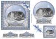 Christmas Kitten Blue Snow Globe