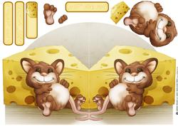 Too Much Cheese Mouse Shaped Card