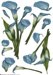 Lily Decoupage Sheet Blue