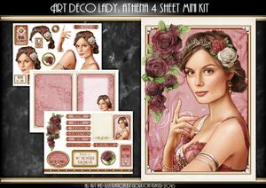 Art Deco Lady Athena Dark Pink 4 Sheet Mini Kit