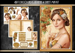 Art Deco Lady Athena Gold 4 Sheet Mini Kit