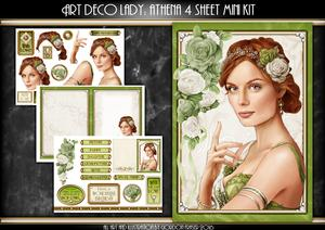 Art Deco Lady Athena Green 4 Sheet Mini Kit