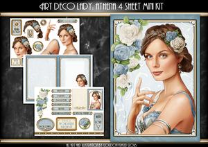 Art Deco Lady Athena Light Blue 4 Sheet Mini Kit