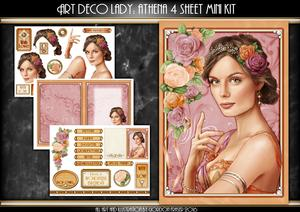 Art Deco Lady Athena Peach 4 Sheet Mini Kit