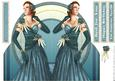 Art Deco Lady Rose (blue) Shaped Card