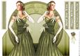Art Deco Lady Rose (green) Shaped Card
