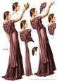 Art Deco Lady Pandore Deep Pink Decoupage Sheet