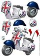 Mod Squad Scooter/moped Decoupage Sheet