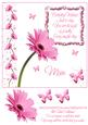 Pink Gerbera & Butterfly Wishes 8x8 Inch Topper Birthday Mum