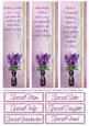 Bookmark Borders & Sentiments for Purple Flowers & Trike
