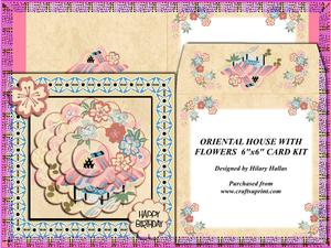 Oriental House with Flowers 6x6 Card Kit