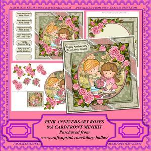 Pink Anniversary Roses 8x8 Cardfront Minikit