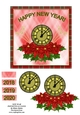 New Year Poinsettia & Clock