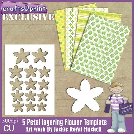 5 Petal Layering Flower Template