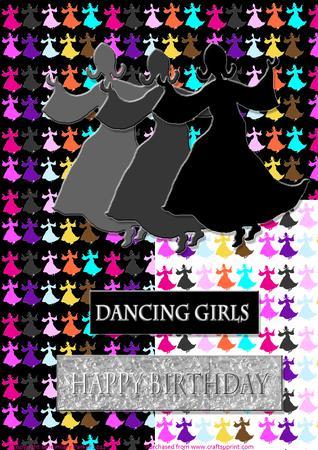 Dancing Silhuette Girls - Black