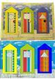 Fabric Art Postcard - Beach Huts