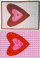 Twin Hearts Fabric Art Postcards