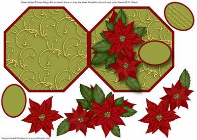 Poinsettia Hexagon Shaped Card