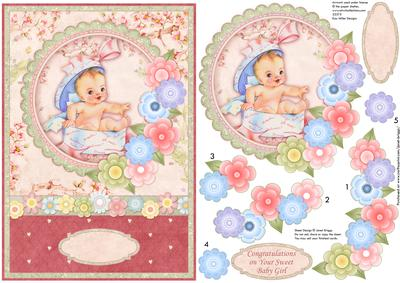 New Baby Girl Vintage Baby Girl Card Topper & Decoupage