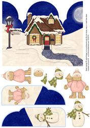 Gate Fold Pop Up Christmas Snowman Girl