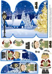 Gate Fold Pop Up Christmas Carol Singers