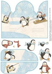 Christmas Gatefold Pop Up Penguin Fun