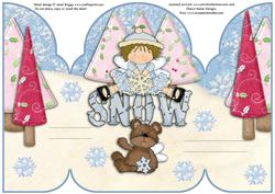 A5 Gatefold Pop Up Christmas Snow Fairies Part 1