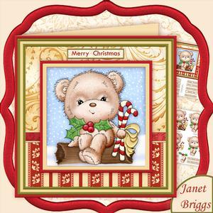 Candy Cane Bear Christmas 7.5 Decoupage Mini Kit