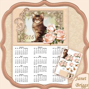 Cat and Roses 2016 A4 Uk Calendar with Decoupage Mini Kit