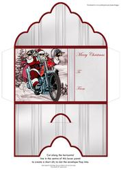 Christmas Money Wallet Biker Santa