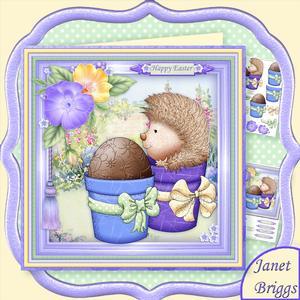 Hedgehogs Surprise Egg 8x8 Decoupage Mini Kit