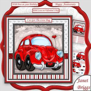 Love Bug 8x8 Decoupage Mini Kit Valentine's Anniversary Etc