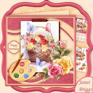 Artist's Canvas Rose Basket 7.5 Decoupage Mini Kit