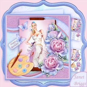 Artist's Canvas Painted Lady 7.5 Decoupage Mini Kit