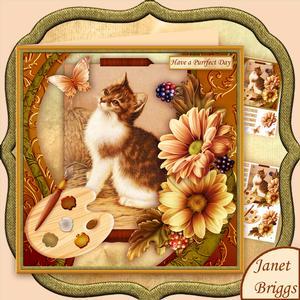 Artist's Canvas Purrfect Day Kitten 7.5 Decoupage Mini Kit