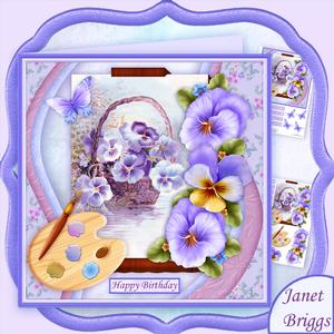 Artist's Canvas Pansies 7.5 Decoupage Mini Kit