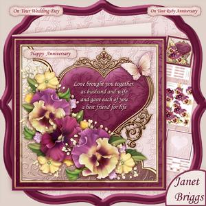 Pansy Heart & Verse for Wedding or Anniversary 8x8 Mini Kit