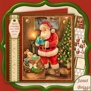 Traditional Santa 8x8 Christmas Decoupage Mini Kit