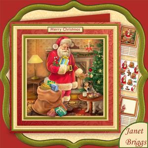 Traditional Santa's Supper 8x8 Christmas Decoupage Mini Kit