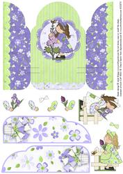 Gate Fold Pop Up Lilac Patchwork Girls Gardening
