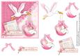 New Baby Girl & Stork Square Card & Decoupage