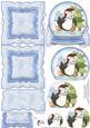 Skating Penguin in Snow Globe Mini Easel Card