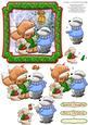 Foxes Carol Christmas Card Topper & Decoupage
